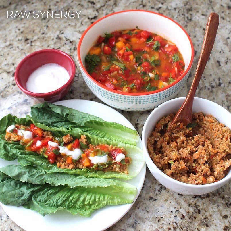 Savory Low Fat Raw Vegan Tacos With Mango Salsa Just Uploa
