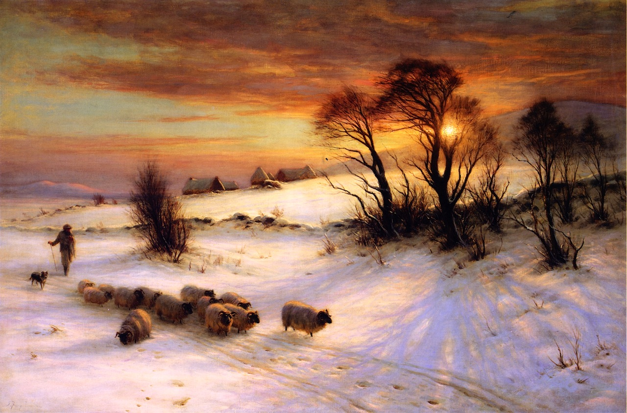 Herding Sheep in a Winter Landscape at Sunset by Joseph Farquharson