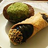 Nothing says :heart::point_right: like Sicilian pastries from @etnacoffee: a chocolate cannolo and pistachio cake!