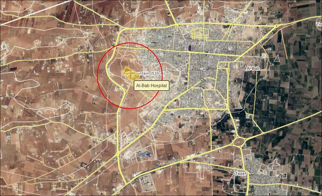 Η θέση του νοσοκομείου της al-Bab. Ο κόκκινος κύκλος έχει ακτίνα 600 μ. στο έδαφος και δείχνει τι θα μπορούσε να είναι η «περιοχή του νοσοκομείου».