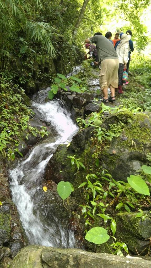 沿著山壁開鑿,圳水沿地勢起伏不時像座小瀑布流瀉