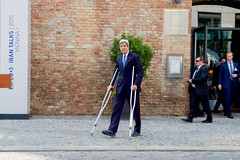U.S. Secretary of State John Kerry, during a break in the Iranian nuclear negotiations in Vienna, Austria, on July 1, 2015, approaches a podium to deliver a statement to the international media after President Obama and Vice President Joe Biden announced plans to re-open a U.S. Embassy in Cuba, and to have Secretary Kerry visit Havana later this summer. [State Department photo/ Public Domain]