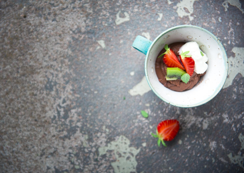 Dark Chocolate Ganache (in a cup!) with berries & whipped cream   Cashew Kitchen