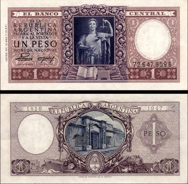 1 Peso Argentína 1952, pamätné vydanie Pick 260b