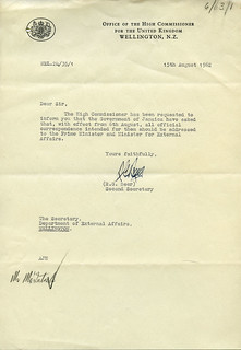 Letter regarding indepedence of Jamaica, August 1962