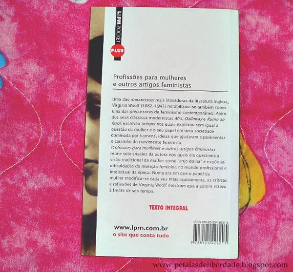 contracapa, Resenha, livro, Profissões Para Mulheres e Outros Artigos Feministas, Virginia Woolf, ensaio, femininsmo, opinião