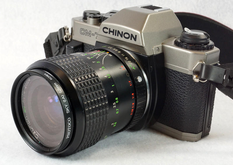 RD14976 Chinon CM-7 35mm SLR Film Camera, 50mm Ozunon Lens, Manuals & Coastar Case DSC07827