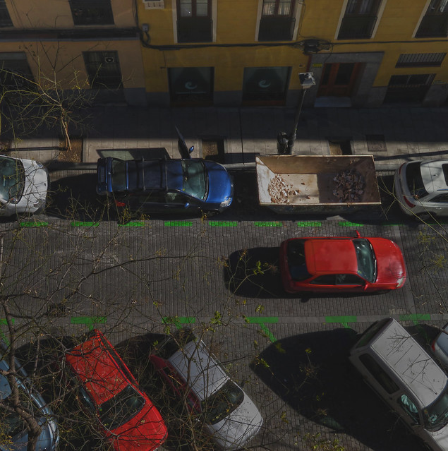 Cars parked on Calle Mallorca, POV  Calle Mallorca 4 (Maria's House), Madrid (2016)