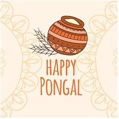 free vector Happy Pongal Day Traditional mud pot w…