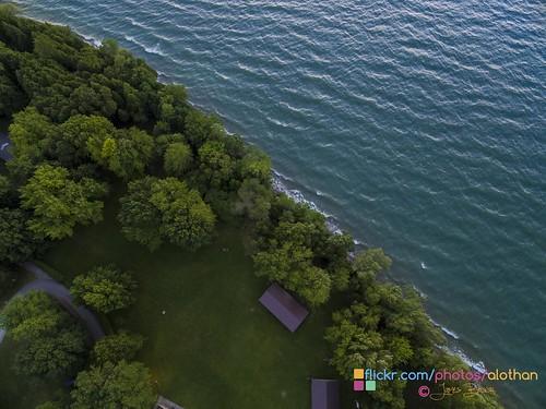 park trees ontario canada aerial shore sutton provincial georgina