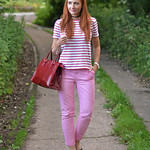 Red striped Breton t-shirt, pink chinos, black patent loafers