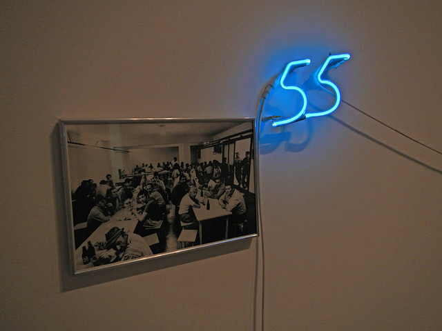 Neon Number 55, one piece of huge collection of modern art at the Reina Sofia in Madrid, Spain