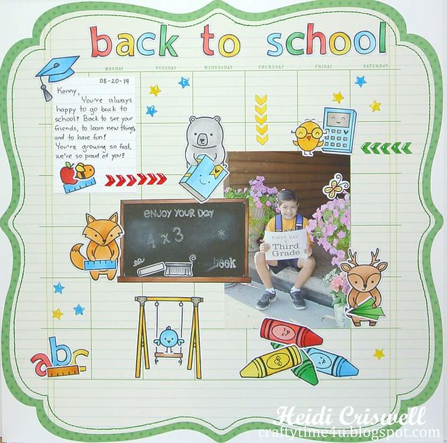 Back to school scrapbook layout, using Lawn Fawn