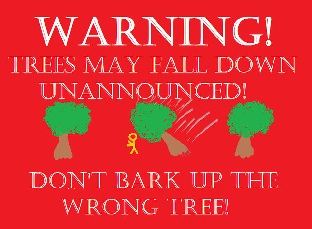 warning falling trees