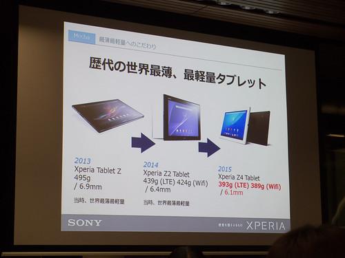 Xperia アンバサダー ミーティング スライド Xperia Z4 Tablet Xperia Z Tablet シリーズは毎回世界最薄・最軽量を更新してきました