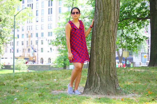 New York, Central Park, Dress - Asos, Shoes - Skechers, Tanvii.com
