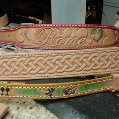 #today's bounty #handmadedogcollar #handstitched #pitbull #gsd #leather #acrossleatherstudio