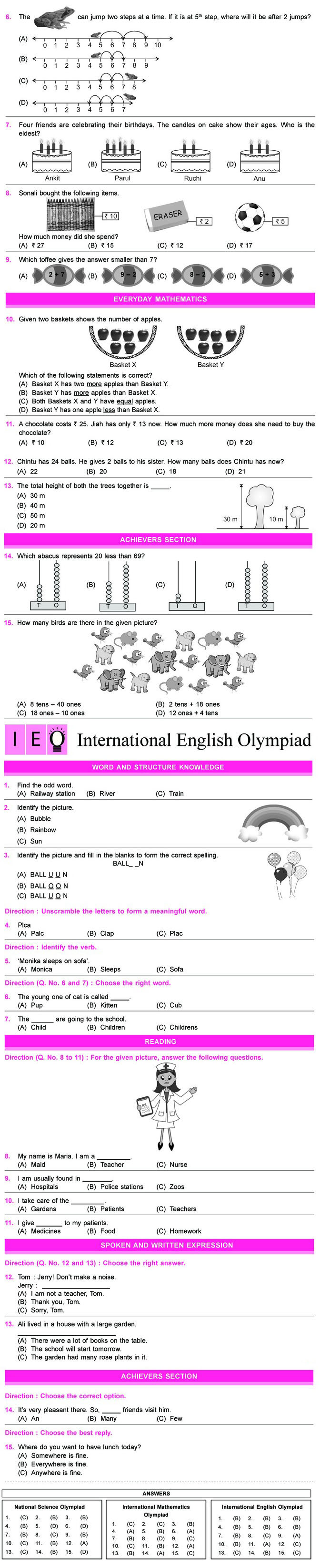 NSO, IMO & IEO 2012 - 2013: Class 1 Sample Papers