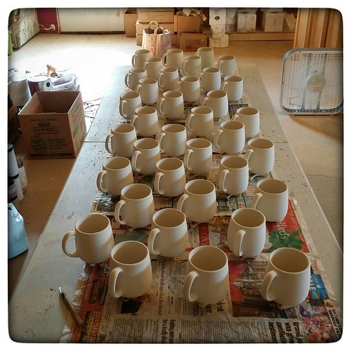 An army of mugs, awaiting glazing orders. #ceramics