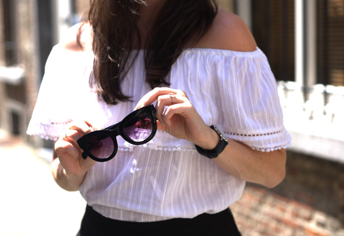 off shoulder top, cat eye sunglasses