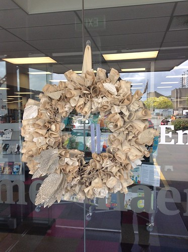 Paper Christmas wreath, Central Library Peterborough