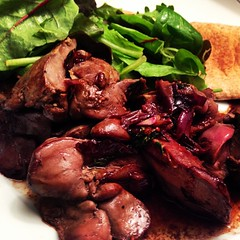 I cooked chicken livers for the first time ever & I can't stop eating them. Fried in red onions, butter & EVOO, I added lemon thyme then deglazed with a few oz of Shiraz & lemon juice. Wow, this is amazing and so cheap. Next time I'll add more onions and