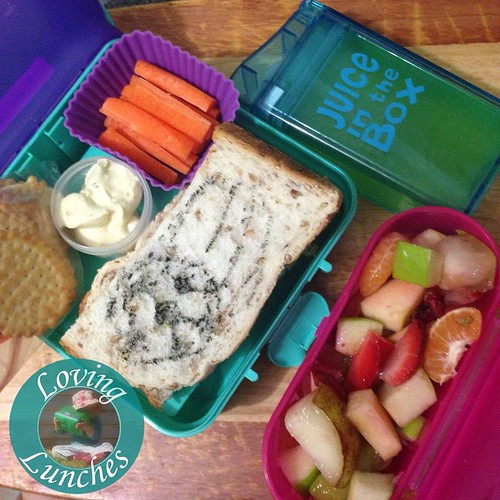 Loving realising I didn't post today's lunch… this one for Miss M in our @nudefoodmovers and #juiceinthebox from @boardwalkimports