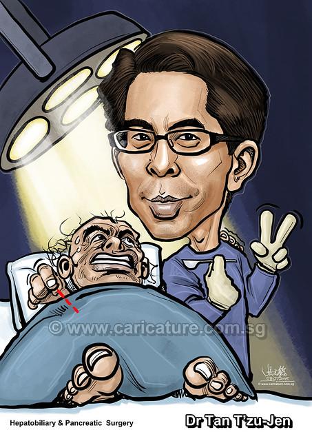 Dr Tan T'zu Jen Hepatobiliary & Pancreatic Surgery digital caricature (watermarked)
