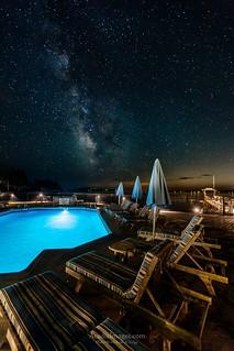 Salt Water Pool Starry Night at Spruce Point Inn Resort