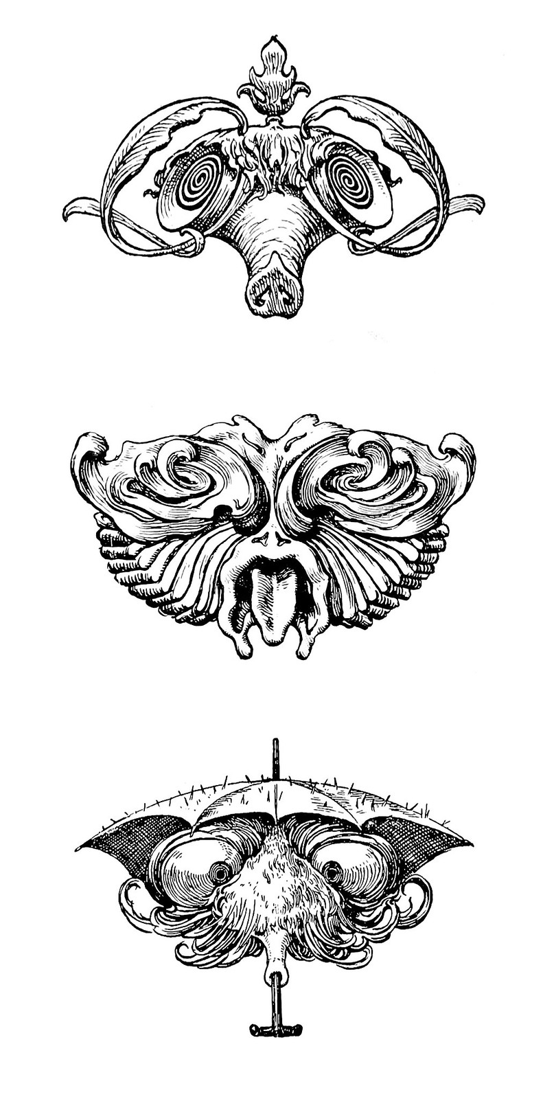 """Hans Tegner - Assortment of grotesque head illustrations (2) from """"Fairy tales and stories"""" by Hans Christian Andersen, 1900"""