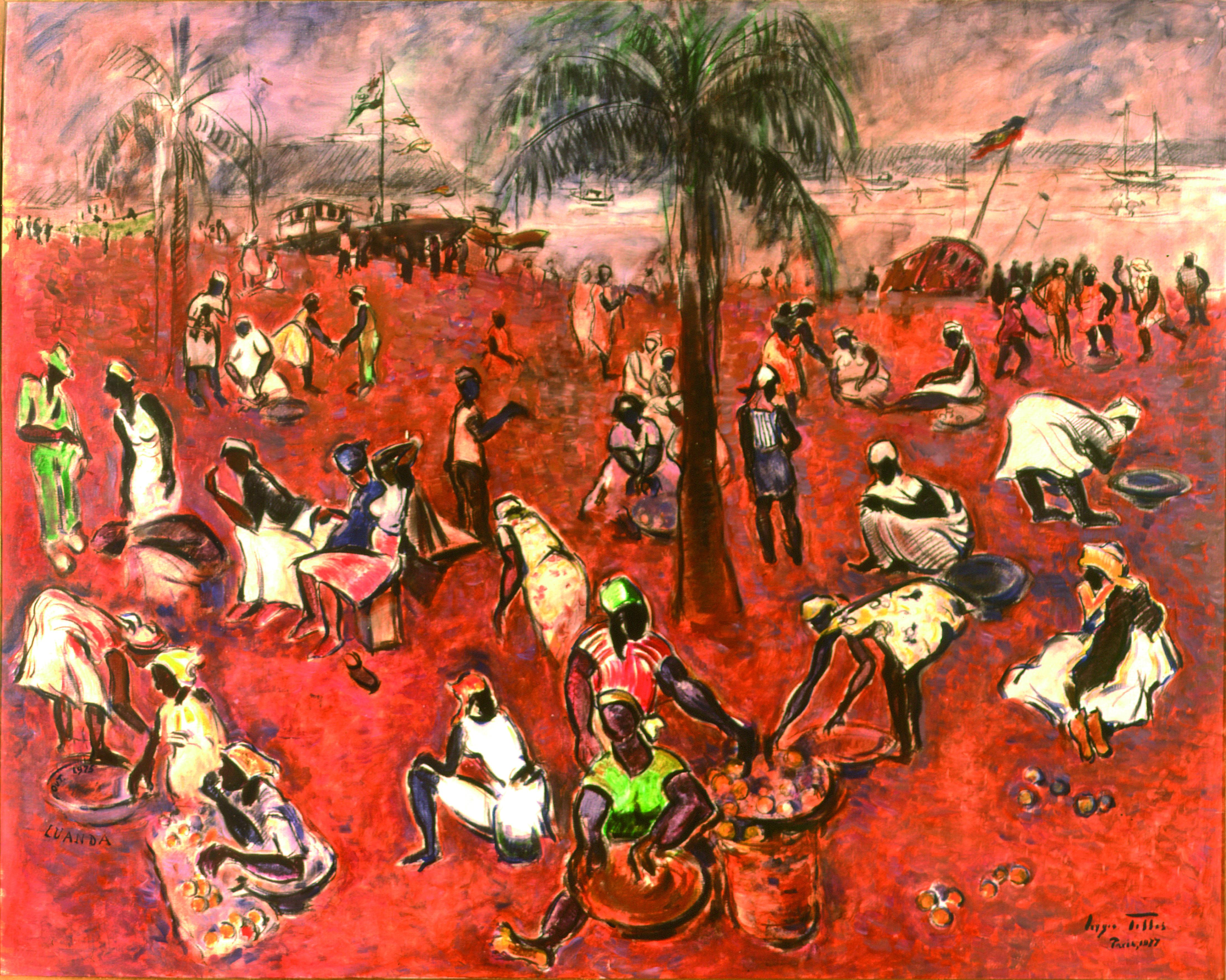 Mercado de Luanda Autor: Sérgio Telles Ano: 1975 Técnica: Óleo sobre tela Dimensões: 132cm x ,64cm