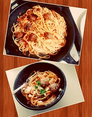 Homemade meatballs and spaghetti