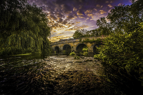 longexposure bridge england mill wet water beautiful sunrise reflections river early weeds village tripod saturday august nd brook welland wellies graduated lightroom duddington nikon1224mm blueskyclouds lightroomhdr nikond800