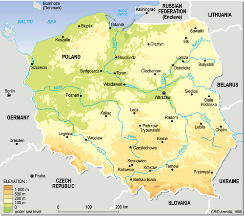 poland topographic map