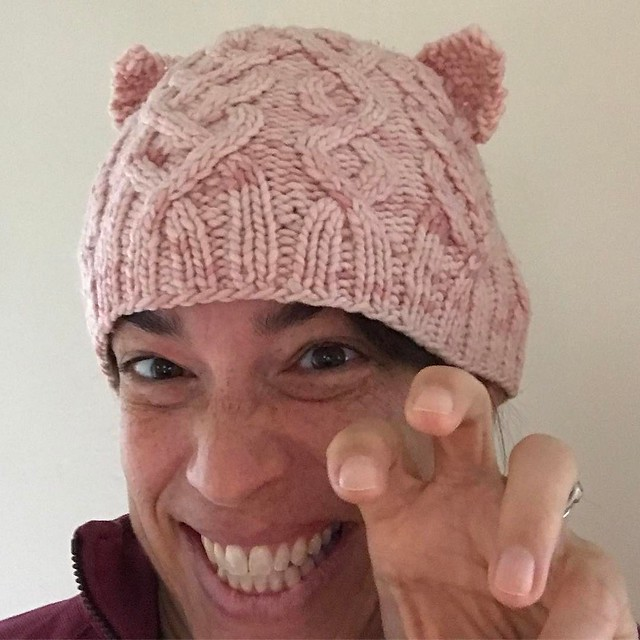 Added kitty ears to my favorite pink hat. Ready to head to Boston. #pussyhatproject