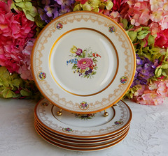 Vintage Syracuse China Dinner Plates Gold Encrusted ~ Dresden Flowers