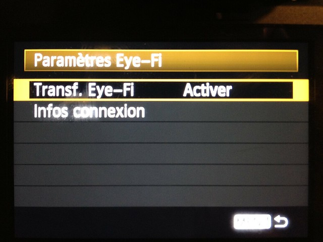 Gestion Eye-Fi par canon