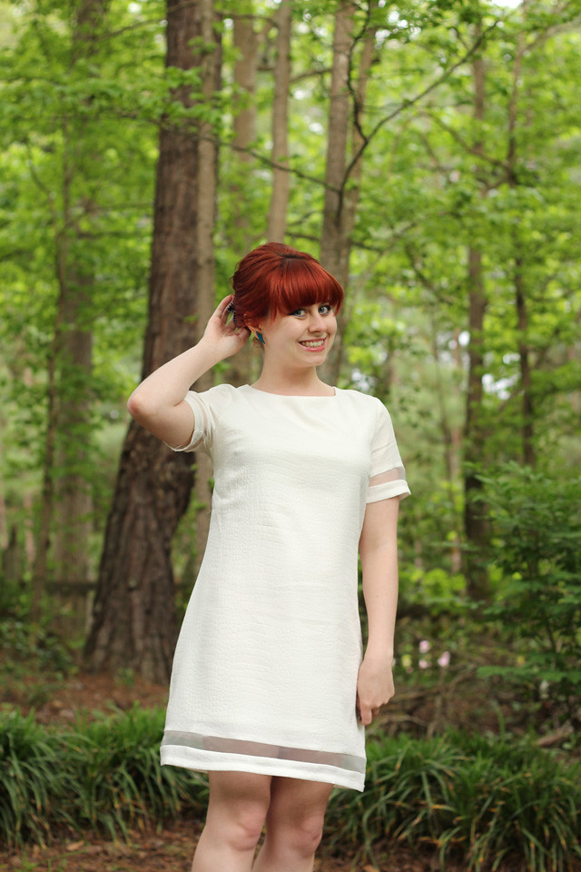White Shift Dress from Boohoo.com with a Red Bouffant
