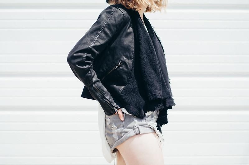 Free People Moto Jacket and One Teaspoon Shorts on juliettelaura.blogspot.com