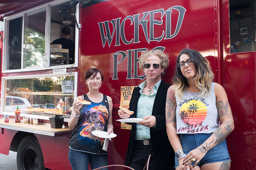 Elaine Grabicki, Pete Capponi, and Jen Knight eat Wicked Pies