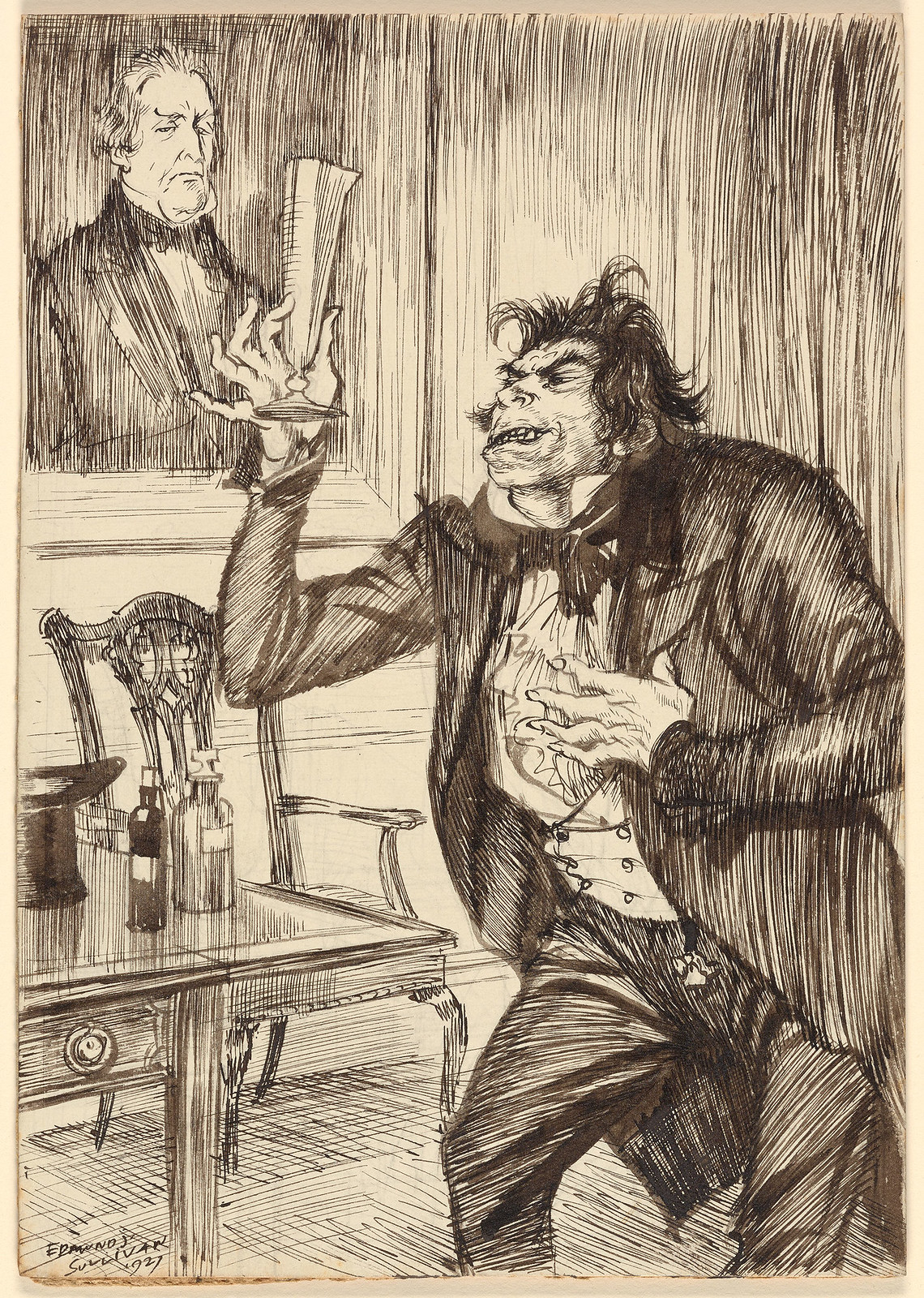 "Edmund Joseph Sullivan - ""Hyde had a song upon his lips as he compounded the draught, and as he drank it pledged the dead man."" Illustration for ""Strange Case of Dr Jekyll and Mr Hyde"" by Robert Louis Stevenson, 1927"