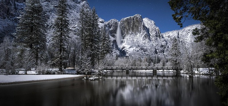 New Snow Under A Full Moon In Yosemite