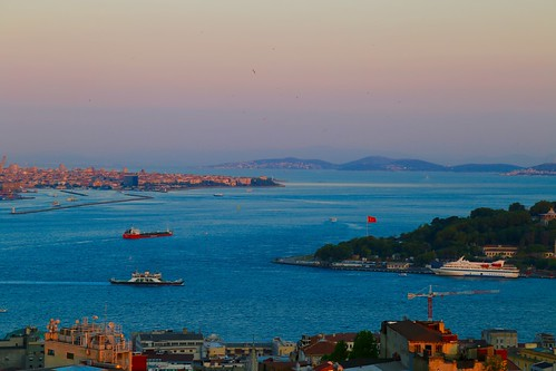 Sunset view of the Bosphorous from the rooftop bar at Mikla at The Marmara Pera