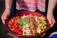 Salad with strawberries, avocado, camembert, pecan…