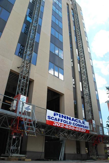 Non union, scaffold, scaffolding, rental, rentals, rent, rents, construction, historic buildings, inspection, art, design, sales, DE, MD, PA, NJ, (302) 650-0520, pinnacle scaffold, repointing, masonry, shoring, subcontractor, GC, open shop, mast climber, shoring