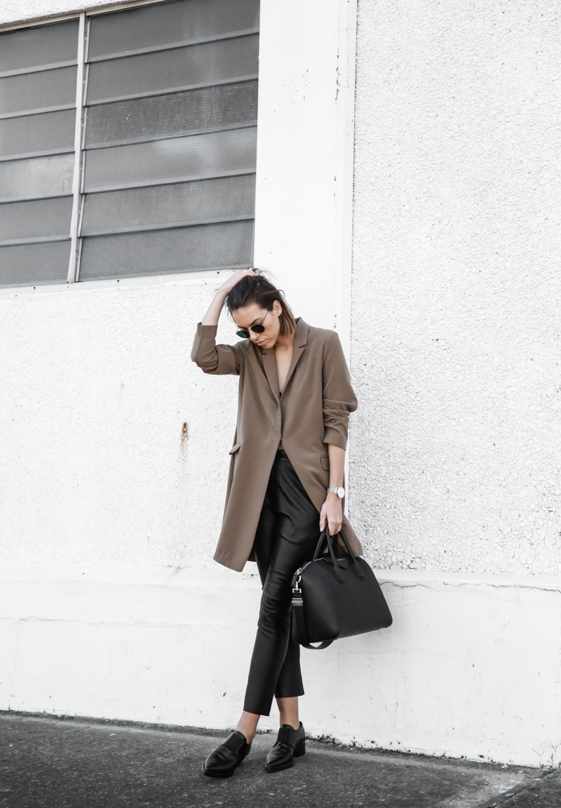 modern legacy, fashion blog, street style, leather pants, minimal, neutrals, Givenchy Antigona Medium, Larsson Jennings silver watch, oversized blazer, ASOS (1 of 1)