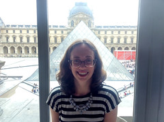 Posing with the Louvre Pyramid at Cafe Richelieu