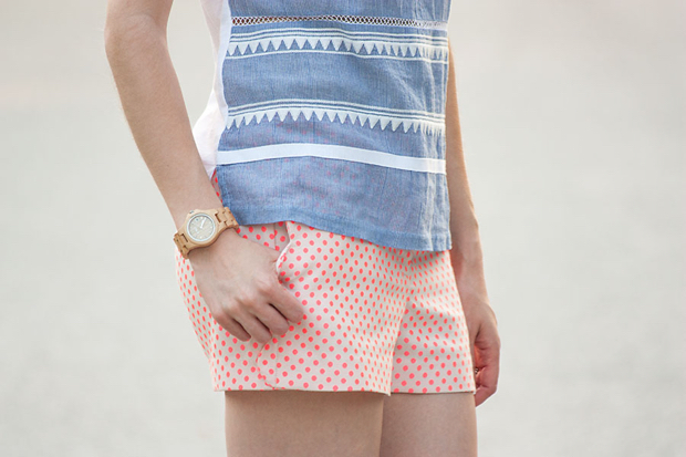Scalloped Polka Dot Shorts, J.Crew Tee, Jord Watch