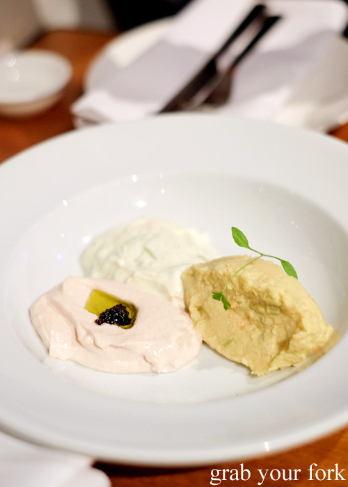 Taramasalata, tzatziki and bean dip at David Tsirekas' Perama pop up at Plunge 46, Summer Hill