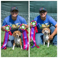 Another shot of my boys (and me!) with their new title ribbons!! So proud! :heart:️